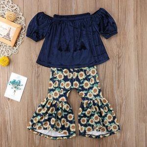 Girls | Off Shoulder Top & Sunflower Bellbottoms